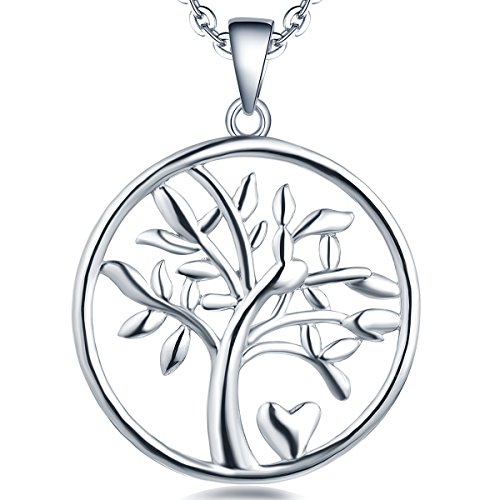 ife Necklace Sterling Silver Family Pendant Gemstone Heart Jewelry ()