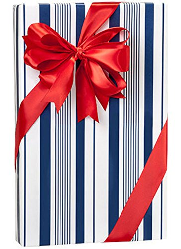 Navy Blue Indigo Stripes Gift Wrap Wrapping Paper 16 Foot Roll (Stripe Wrap Christmas Gift)