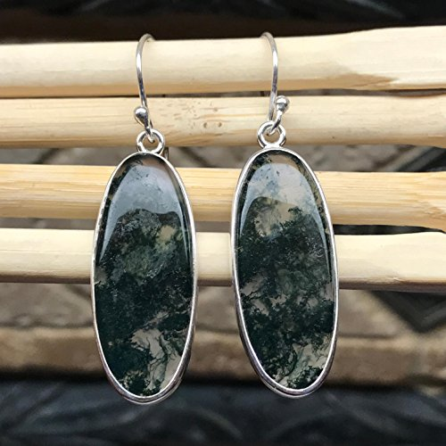 Natural Green Moss Agate 925 Solid Sterling Silver Earrings 45mm ()