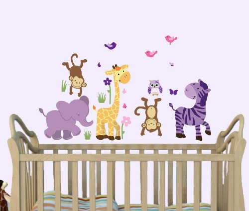 (Wild About Purple, Little Girl Wall Decals, Jungle Decals, Kids Wall Stickers)