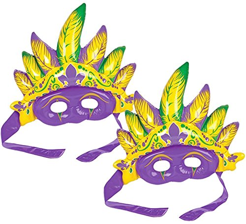 KOVOT Inflatable Mardi Gras Mask Set of 2 | Includes (2) 12