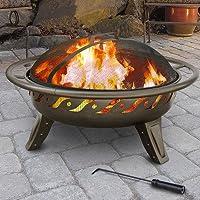 Deals on Landmann Patio Lights Firewave Fire Pit Metallic Brown
