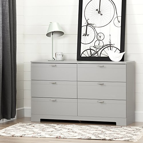 South Shore Reevo 6-Drawer Double Dresser, Soft Gray with Matte Nickel Handles