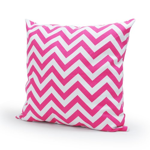 Lavievert Decorative Cotton Canvas Square Throw Pillow Cover Cushion Case Handmade White and Pink Chevron Stripe Toss Pillowcase with Hidden Zipper Closure 18 X 18 Inches (For Living Room, Sofa, - Stripe Chevron Cheery