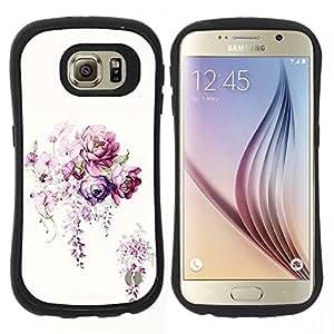 "Hypernova Slim Fit Dual Barniz Protector Caso Case Funda Para Samsung Galaxy S6 [Flor blanca Ramo Begonia""]"