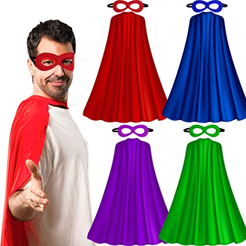 Superhero-Capes for Adults with Masks Bulk, Women Men Super-Hero Themed Birthday Party Dress Up Costume (4 Pack) ()