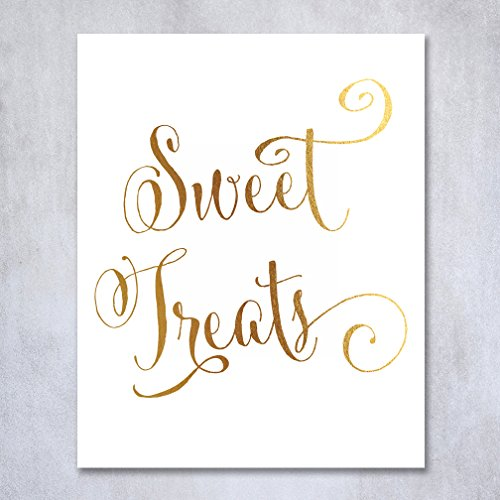 Sweet Treats Gold Foil Sign Wedding Reception Candy Bar Signage Treat Buffet Dessert Station Poster Decor Love Is Sweet
