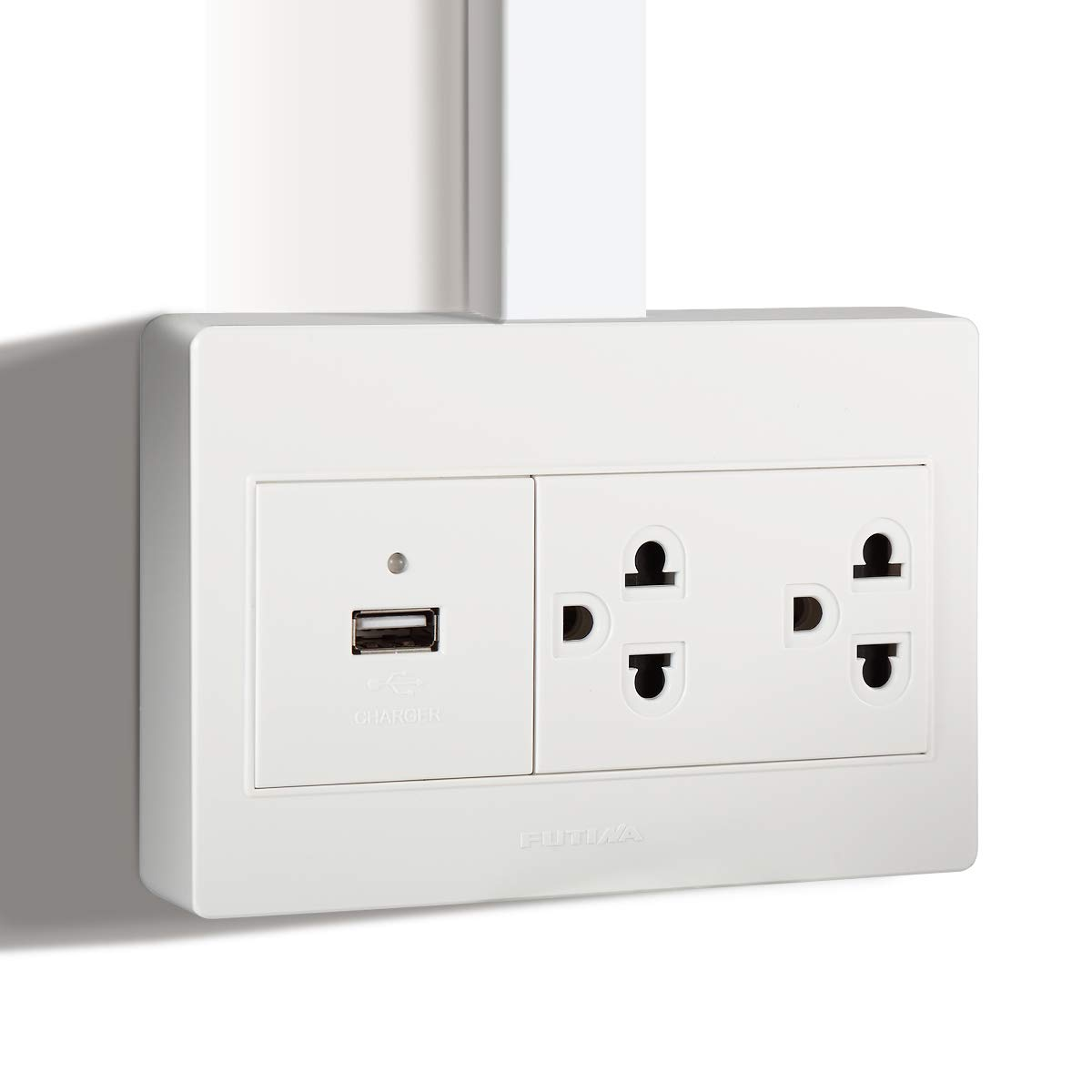 FUTINA Surface Mount Electrical Outlet Box, High Speed USB Charger Outlet with Wall Plates &Screw for Cable Raceway,15A Receptacle, Child Proof Safety,White