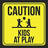 2 Pack - Caution Kids At Play Print Picture Yellow Black Notice Road Street Neighborhood Safety School Public, 12x12