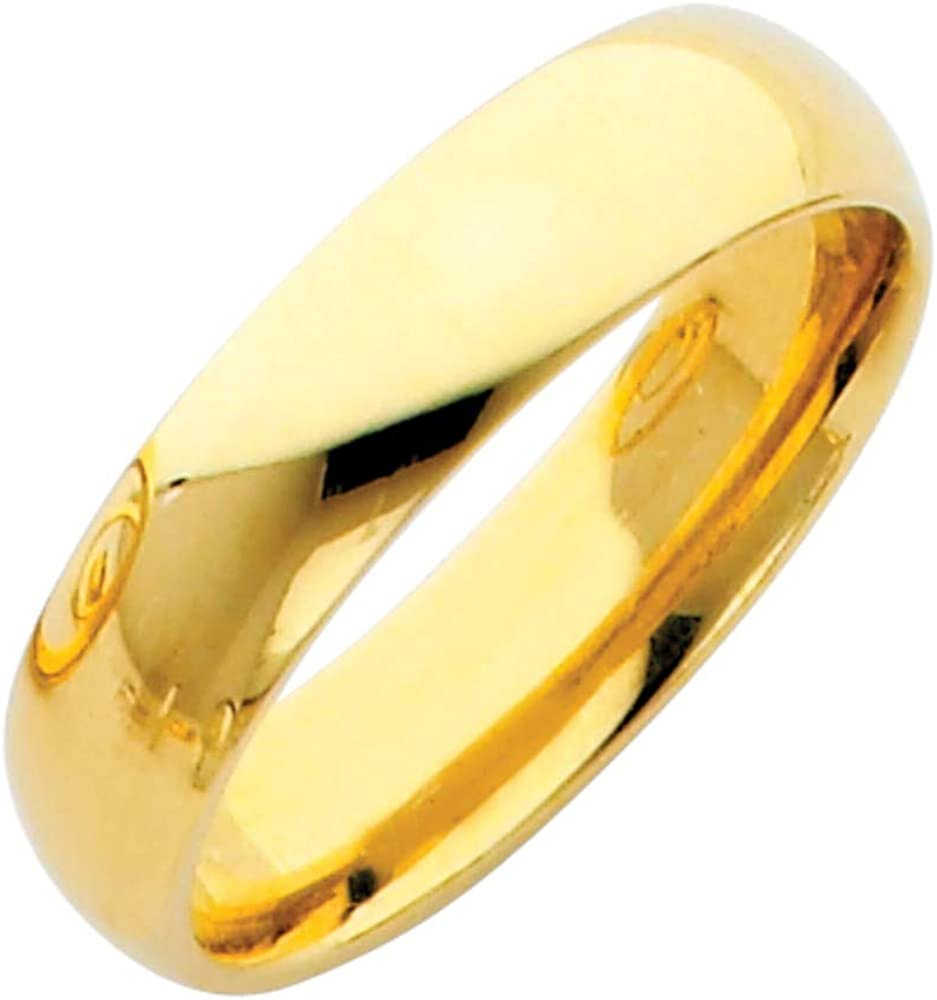 Sonia Jewels 14k Yellow Gold Solid 5mm Plain Traditional Classic Comfort Fit Wedding Ring Band