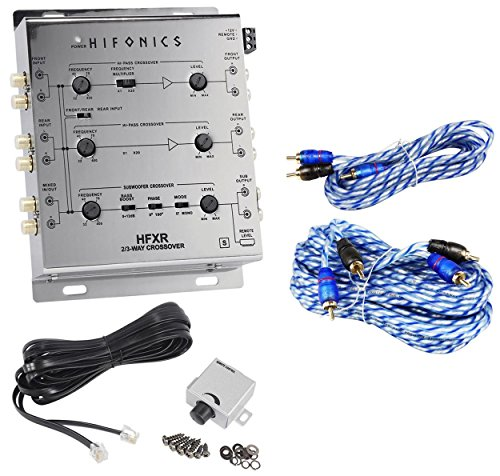 (Hifonics HFXR 3-Way Active Crossover With Remote + 17' + 6' RCA Cables)