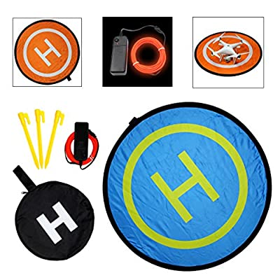 """SSE 32"""" (80cm) Collapsible Drone Pad Landing Pad Launch Pad with Lighting Kit, Gamma Orange, 94"""""""