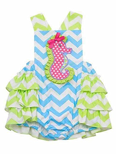 Rare Editions Jumping Fences Seahorse Ruffle Romper (4 Toddler)