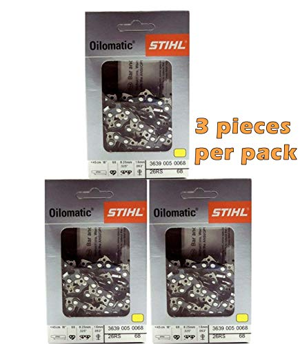 Stihl Chainsaw Chain- 26RS68- 18 Inch, 68 Drive Links, .325 Pitch, .063 Gauge
