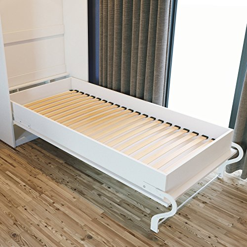smartbett schrankbett 90x200 cm vertikal weiss weiss hochglanzfront schrankklappbett wandbett. Black Bedroom Furniture Sets. Home Design Ideas