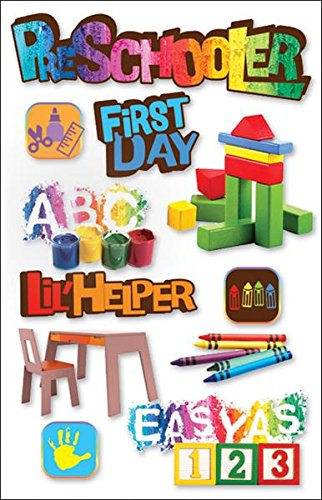 Stickers Phrases Scrapbook Cardstock - Paper House Productions STDM-0052E 3D Cardstock Stickers, Pre-Schooler (3-Pack)
