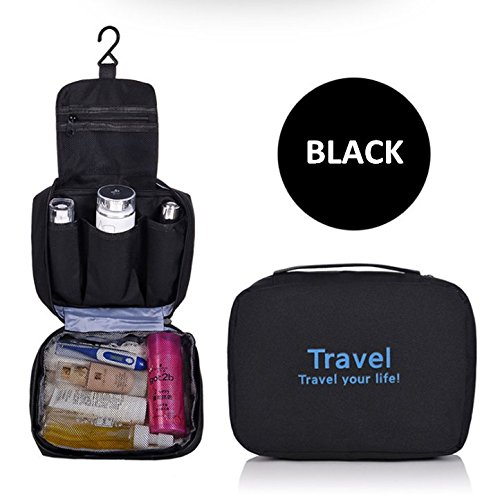 xsorterポータブルHanging Toiletry Bag/耐水性トラベルメイクアップバッグwithメッシュポケット/ Hanging Cosmetic Bag/コンパクトHanging Travel Organizer for洗面用品ジュエリー電子アクセサリー ブラック B074PL3GPY ブラック