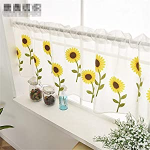 WPKIRA Voile Sheer Valance – Kitchen Window Treatment Voile Valances Rod Pocket Embroidery Sunflower Sheer Tier Curtains for Small Window/French(Sunflower, 1 Panel Per Package, 39″Wide x 21″ Long)