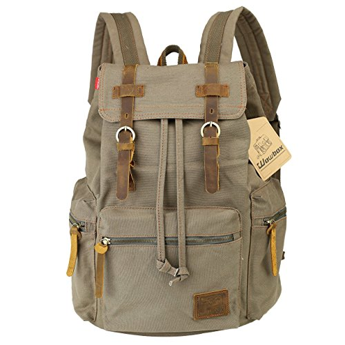 Wowbox 15.6 Inch Laptop Canvas Backpack Unisex Vintage Leather Casual Rucksack School College Bags Satchel Bookbag Large Capacity Hiking Travel Rucksack Business Daypack for Men and Women