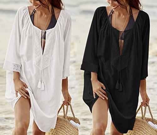 Robe Mini Bikini de Femme Peach L Tunique Maillot Up Loose Bain Cover Plage Dentelle pour Floral Paro Sarong Blouses avec Noir Chemisiers de Et YqRnR08