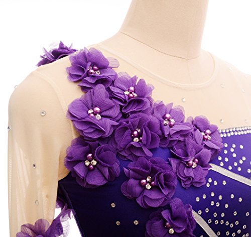 Larga Purple La Manga Tricolor Patinaje Gimnasia Las Hielo Sobre Vestido Competencia Rítmica Muchachas De Gzhgf Flor Cuixi xAqwBFfHvn