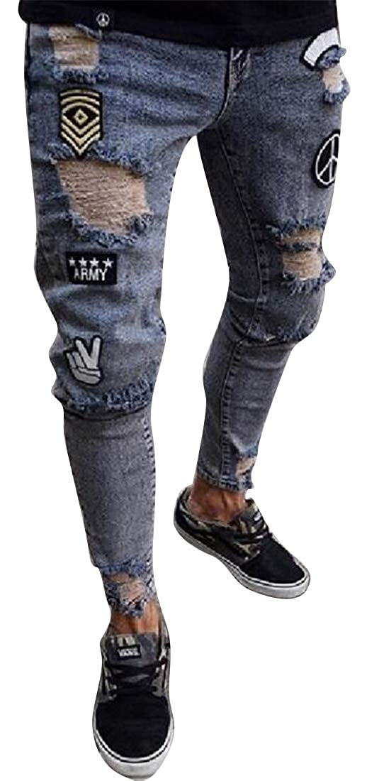SHOWNO Mens Classic Badge Hip Hop Regular Fit Ripped Holes Jeans Denim Pants