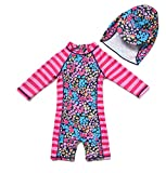 BONVERANO Kids UPF 50+ Sun Protection L/S One Piece Zip Sun Suit with Sun Hat