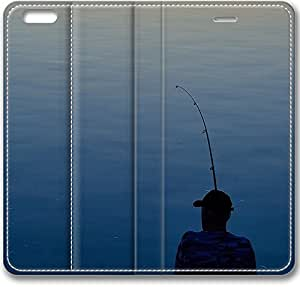 E-luckiycase Leather Cover Sunset Lake Fishing for Iphone 6 Case (4.7Inch)