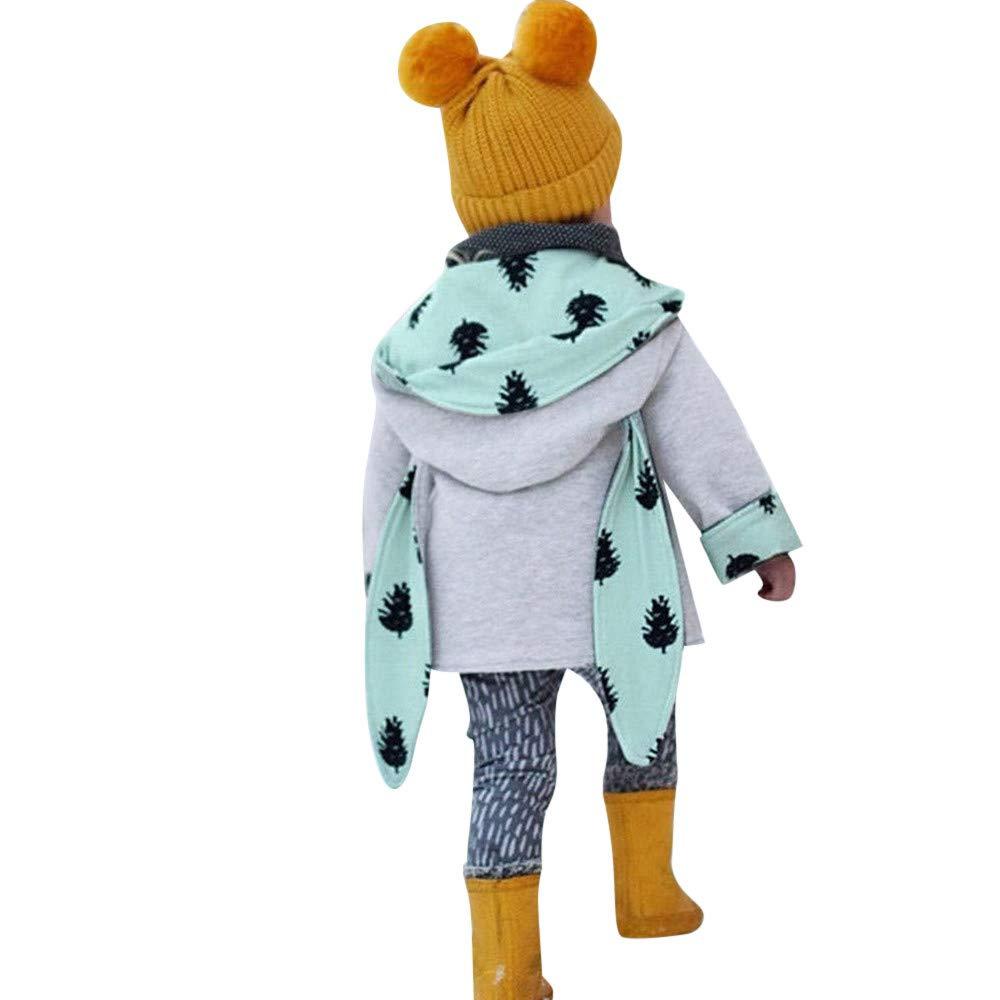 Kleinkind Baby M/ädchen Langarm Pine Cone Drucken Kaninchen Ohren Kapuzenoberteile Mantel Outfits Huhu833 Baby Kapuzen Mantel