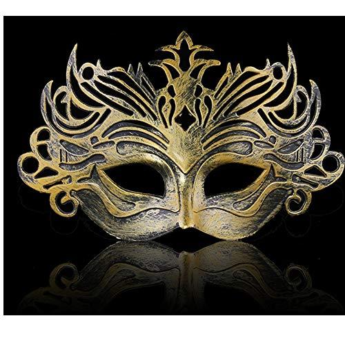 10 Pcs Halloween Lady Men's Greek Vintage Crown Masquerade 3D Half Face Mask Gold ()