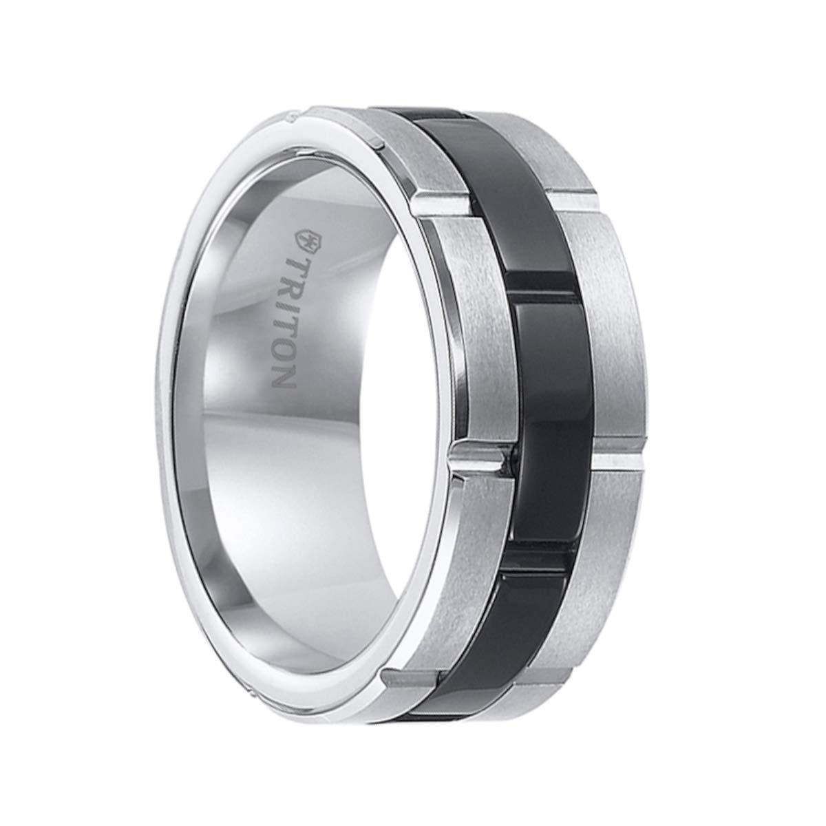 Triton Ring Black and White Tungsten Carbide Comfort Fit Band with Brick Engraving