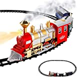 Classic Train Set for Kids with Smoke, Realistic Sounds, 3 Cars and 11