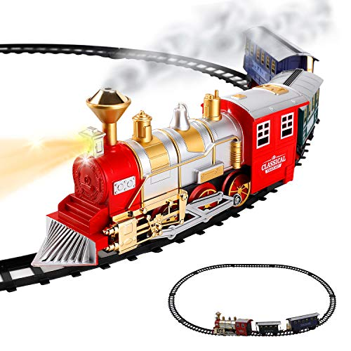 Christmas Tree Trains Sets (Classic Train Set for Kids with Smoke, Realistic Sounds, 3 Cars and 11 Feet of Tracks (13 pcs) colors may)