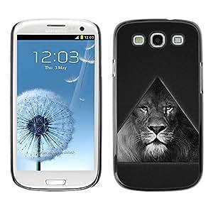 LASTONE PHONE CASE / Carcasa Funda Prima Delgada SLIM Casa Carcasa Funda Case Bandera Cover Armor Shell para Samsung Galaxy S3 I9300 / Triangle Majestic Lion B & W