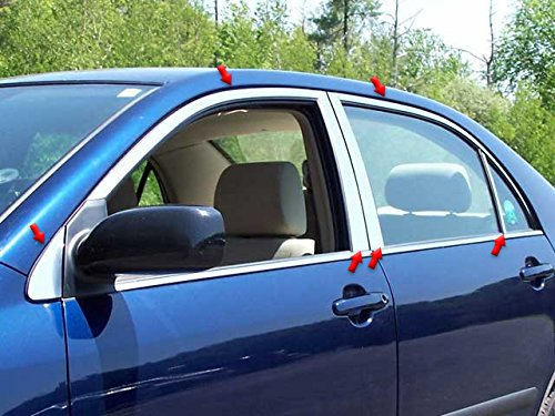 QAA FITS COROLLA 2004-2008 TOYOTA (12 Pc: Stainless Steel Window Trim Package w/pillar trim, 4-door) WP24112