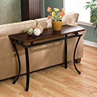 Upton Home Practical Sofa Table with Curved Metal Legs and Attractive Espresso Finish