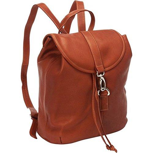 Piel Leather Medium Drawstring Backpack, Saddle, One (Medium Mens Leather)