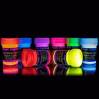 neon nights UV Black Light Fluorescent Glow Fabric & Textile Paint Ultraviolet - Set of 8