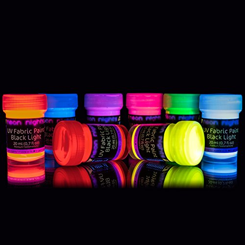 neon nights 8 x UV Fabric Paint Set Fluorescent for Clothing - Vibrant Ultraviolet Textile Black Light Paint for Projects, Glow Parties, and Events - Set of 8 Bright Colors -