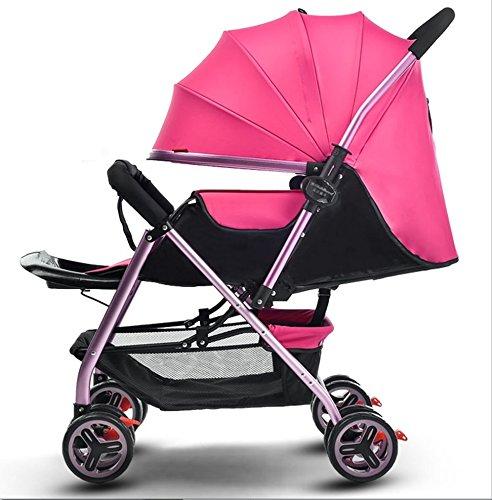 新生児の赤ちゃんキャリッジ折り畳み可能な座って、1ヶ月-5歳の赤ちゃんの2ウェイ8ホイールのためのダンピングベビーカートを横に振ることを避ける赤ちゃんトロリー目覚めを避ける (色 : ピンク ぴんく) B07DVBJ3VS ピンク ぴんく ピンク ぴんく