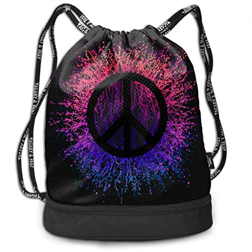 Zhangyi Peace Sign Drawstring Backpack Bag Cinch Sack Backpack Gym Sack Bag Drawstring Backpack Sport Bag