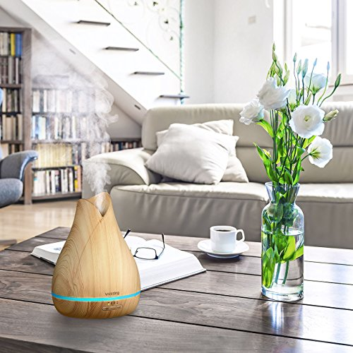 VicTsing 500ml Aromatherapy Essential Oil Diffuser, Ultrasonic Aroma Cool Mist Humidifier with Reduce Noise Design, 7 Colors LED Lights and Waterless Auto Shut-off for Home Office Bedroom -Wood Grain by VicTsing (Image #5)