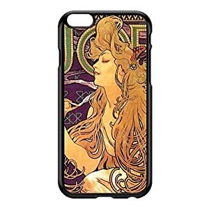 Job Cigarettes by Alphonse Maria Mucha Black Hard Plastic Case for iPhone 6 Plus by Painting Masterpieces + FREE Crystal Clear Screen Protector hjbrhga1544
