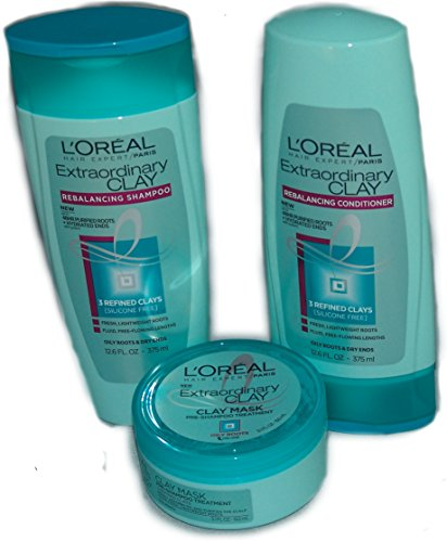 Price comparison product image L'oreal Paris Hair Expert Extraordinary Clay Balancing Shampoo and Conditioner 12.5 oz and Clay Mask 5.1 oz