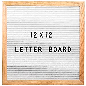 White Letter Board 12X12 Inch Best Size Changeable Letter Sign with Moveable Alphabet - Premium White Felt Letter Board
