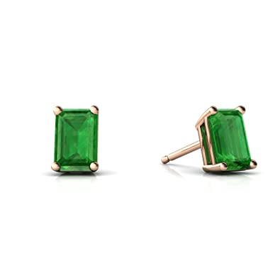 Amazon.com  14kt Rose Gold Emerald 6x4mm Emerald Cut Emerald-Cut Stud  Earrings  Jewelry 8912f96c1