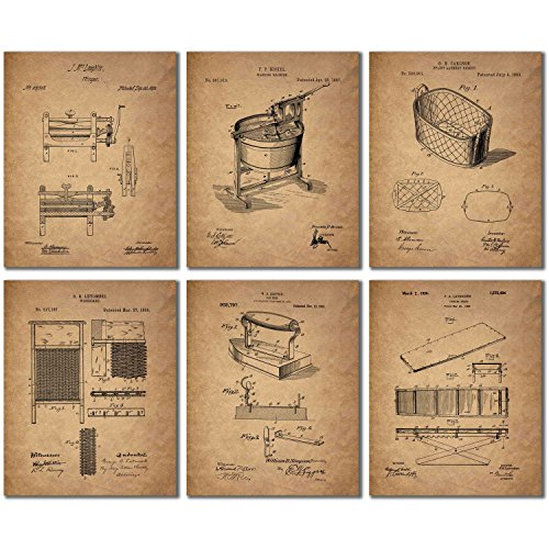 Laundry Room Patent Prints - Set of Six 8x10 Vintage Wall Art Decor Photos