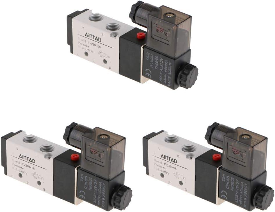 118 x 64 x 23 mm 3x Pneumatik Ventil Magnetventil Elektroventil mit 5//2 Wege Design ca