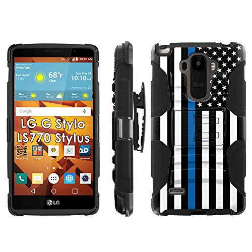 LG G Stylo LS770 H631 Phone Cover, Blueline Flag- Blitz Hybrid Armor Phone Case for [LG G Stylo LS770 H631] with [Kickstand and Holster] by Mobiflare