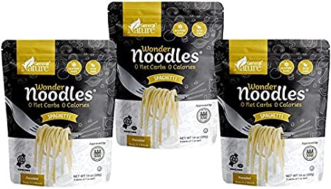 Amazon Com Wonder Noodles Spaghetti Carb Free Keto Pasta Gluten Free Kosher Vegan Zero Calories Ready To Eat Includes 3 Packages Each Package Contains 2 Inner Packs Of 7oz